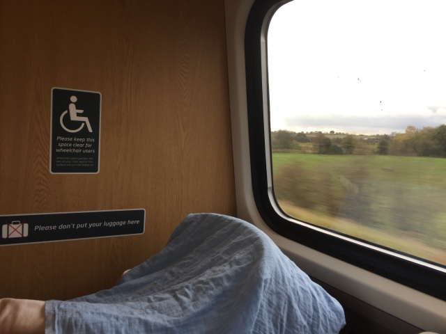 A pushchair with a cloth draped over it in the wheelchair area of a long-distance train, with the countryside rushing past outside.