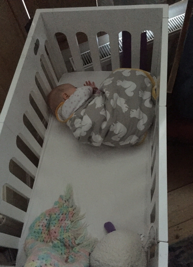A baby wearing a sleeping bag sleeps curled up in a ball at one end of a cot.