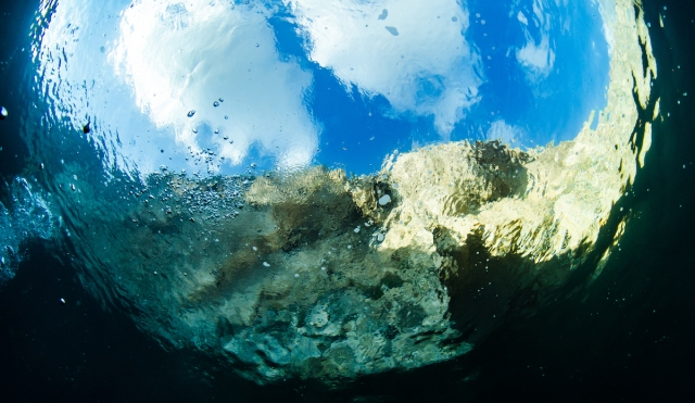 The Blue Hole in Gozo, photographed from under the water
