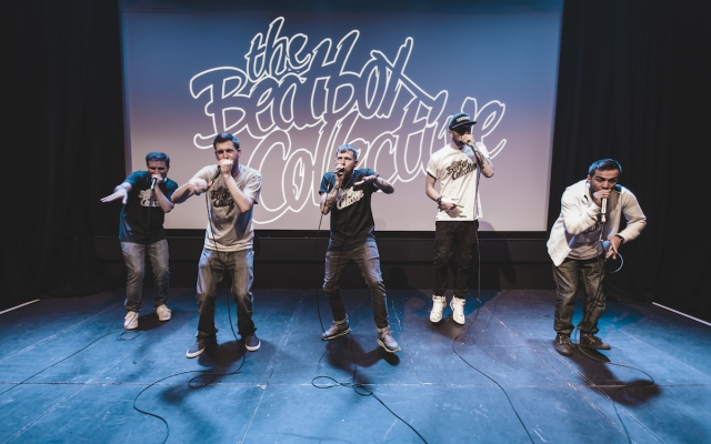 Five beatboxers, the Beatbox Collective, perform onstage